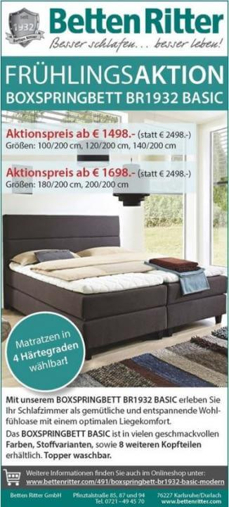 fr hlingsaktion boxspringbett br1932 news presse ber betten ritter fachgesch fte. Black Bedroom Furniture Sets. Home Design Ideas