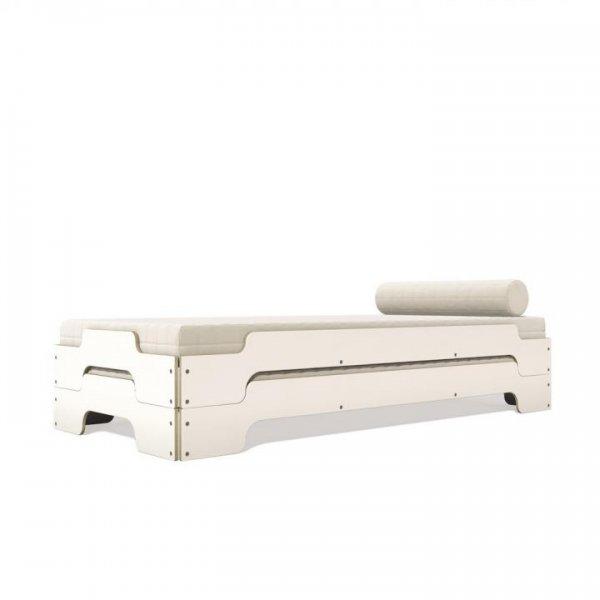 Stapelliege sichtbare Birkenschichtholzkante mit CLP-Belegung in weiß Schrägansicht Doppellage