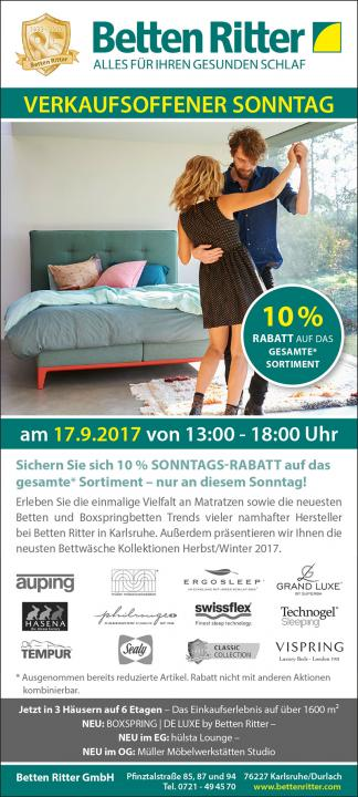 verkaufsoffener sonntag 10 sonntagsrabatt news presse ber betten ritter. Black Bedroom Furniture Sets. Home Design Ideas