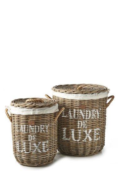 """Rivièra Maison Korbtruhen-Set """"Rustic Rattan Laundry de Luxe Basket S 2"""""""
