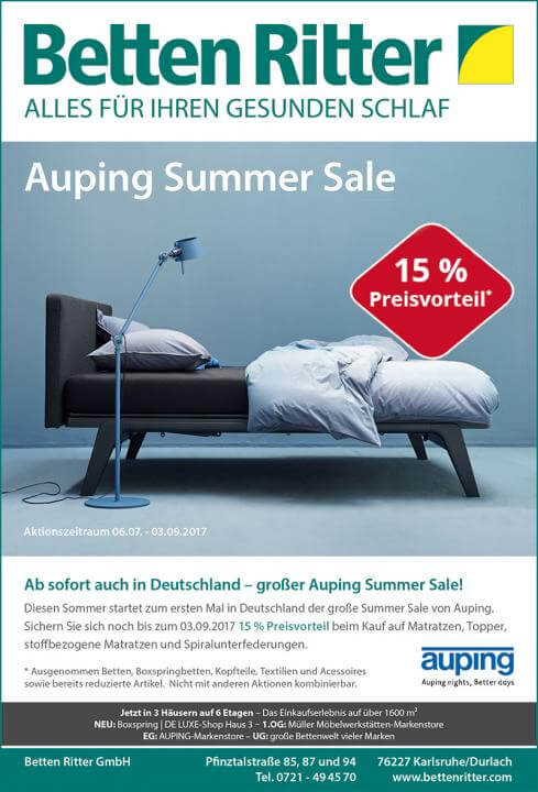 auping summer sale betten ritter karlsruhe. Black Bedroom Furniture Sets. Home Design Ideas