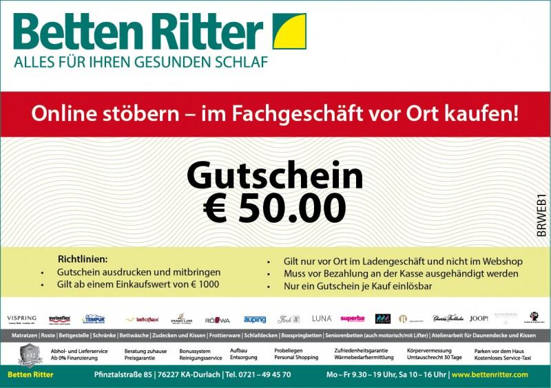 Geschenkgutschein | Betten Ritter Karlsruhe