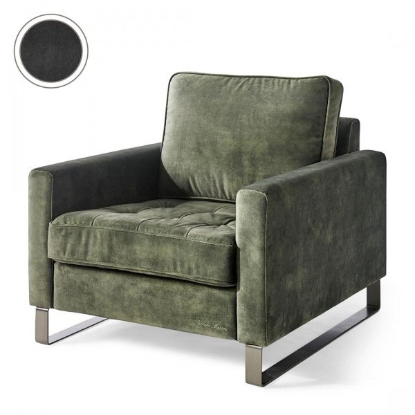 "Rivièra Maison Loungesessel ""West Houston Armchair Velvet Grimaldi Grey"""